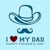 Постер, плакат: Счастливый день отцов старинный фон листовки или баннер с шляпу усы и текст я люблю мой папа