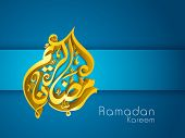 stock photo of ramadan mubarak card  - 3D golden Arabic Islamic calligraphy text Ramadan Kareem or Ramazan Kareem on blue background - JPG