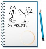 Illustration of a  notebook with an image of two people ice skating on a white background