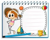 Illustration of a notebook with an image of a girl ready for summer on a white background