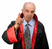 Angry senior adult judge isolated on white background