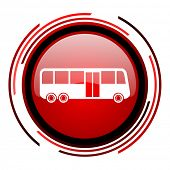 bus red circle web glossy icon on white background