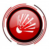 bomb red circle web glossy icon on white background