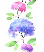 stock photo of hydrangea  - Watercolor seamless hydrangeas pattern - JPG