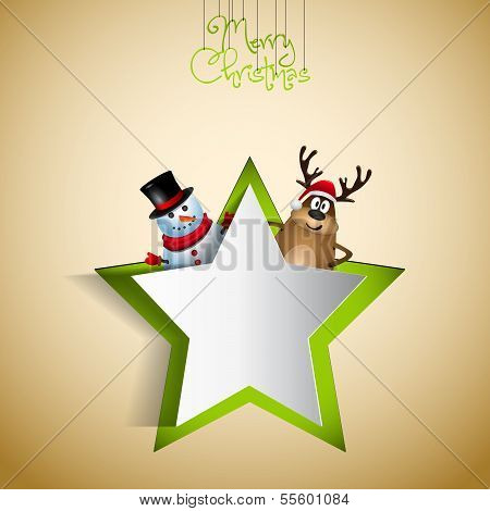 Reindeer and snowman with papercut star - winter theme - Merry christmas illustration