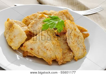 breaded hake fillets in a plate on a set table