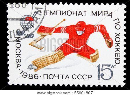 USSR - CIRCA 1986: A post stamp printed USSR, Hockey, World Cham
