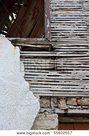 Old Lath And Plaster On Derelict Building