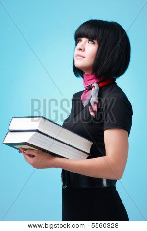 Student With Big Books