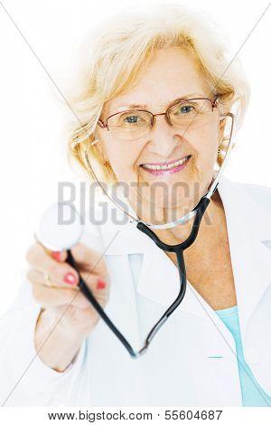 Portrait of confident senior doctor