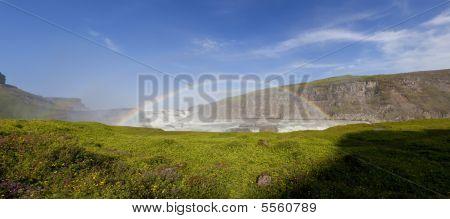 Double Rainbow Over Gullfoss Waterfall Iceland