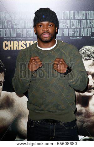 "NEW YORK-DEC 16: Boxer Eddie Gomez attends the world  premiere of ""Grudge Match"" at the Ziegfeld Theatre on December 16, 2013 in New York City."
