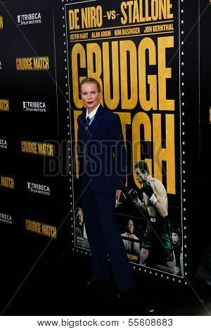 """NEW YORK-DEC 16: Actress Kim Basinger attends the world premiere of """"Grudge Match"""" at the Ziegfeld Theatre on December 16, 2013 in New York City."""