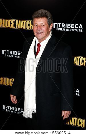 "NEW YORK-DEC 16: Singer Frankie Avalon attends the world premiere of ""Grudge Match"" at the Ziegfeld Theatre on December 16, 2013 in New York City."