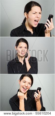 Tryptich Of A Womans Reactions To A Phone Call