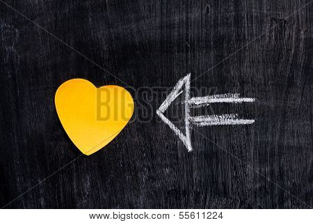 Heart Shaped Notes On Blackboard With Arrow
