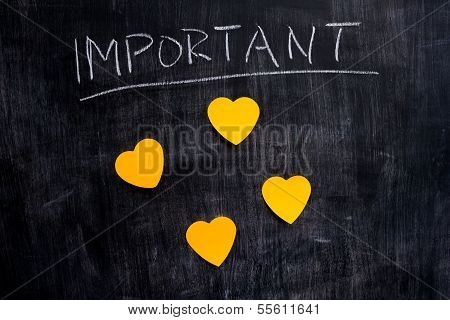 Important Heart Shaped Notes On Blackboard