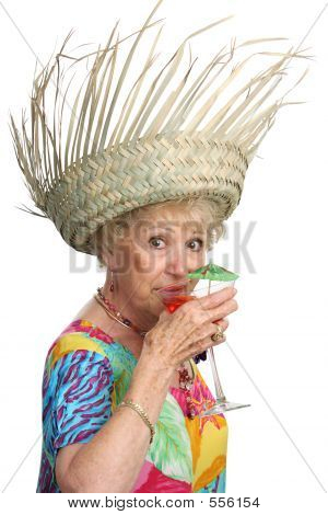 Senior Lady Sips Cocktail
