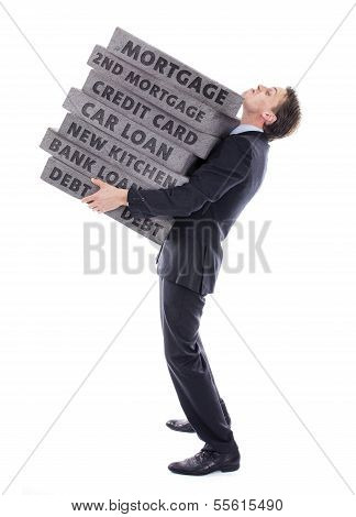 Businessman carrying debt