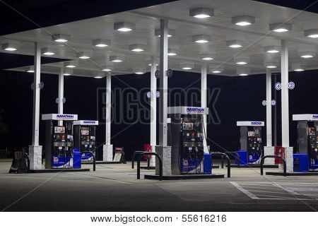 JACKSONVILLE, FL - DEC 07: A Marathon Petroleum Corporation (MPC) gas station in Jacksonville, Florida on December 7, 2013. MPC is the fourth largest gas refiner in the United States.