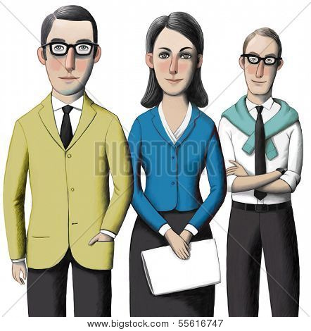 Three standing business people: a woman and two men. Isolated on white background.