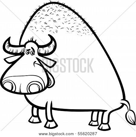 Bull Or Buffalo Cartoon Coloring Page
