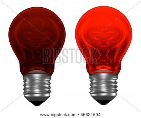 Red Light Bulbs, One Glowing, Another Not
