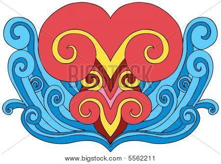 Heart Wave Tattoo Element