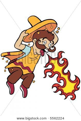 Spicy Food Mexican Cartoon