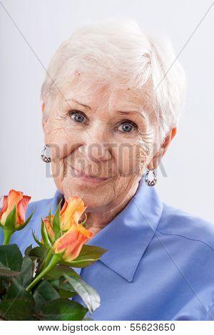 Garandma With Birthday Flowers
