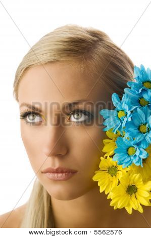Girl And Yellow And Blue Flower