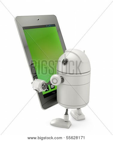 Robot Looking At Tablet Computer.