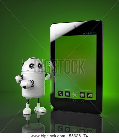 Robot Showing Tablet Computer