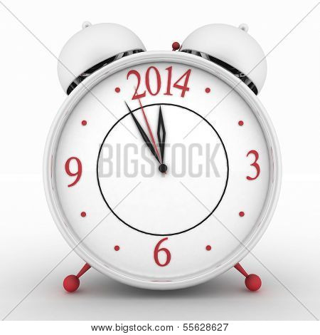 2014 year on alarm clock. 3d isolated icon on white