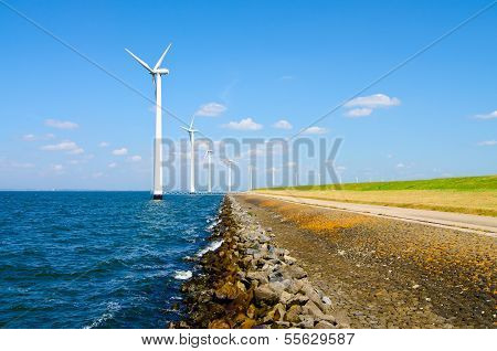Alternative energy by windmills near water