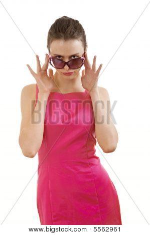 Girl Look Over Sunglasses