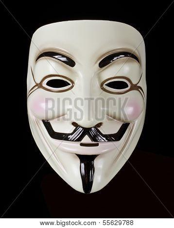 V for Vendetta mask isolated on black