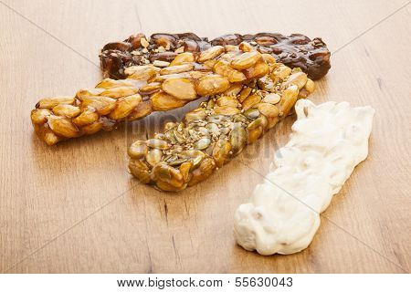 Almond Nougat And Honey And Chocolate Turron Bars