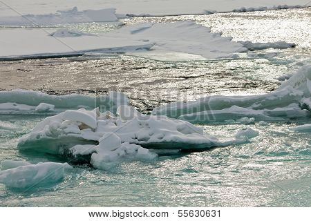 Flowing Open River Water Jammed Ice Floes Abstract