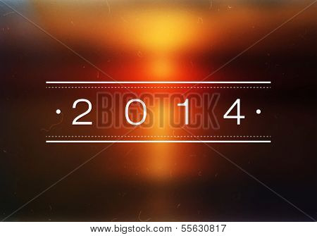Happy New Year 2014 Beach Sunrise Bokeh | EPS10 Vector Illustration