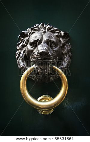 Antique Door Knocker In The Form Of A Lion's Head, Rome, Italy