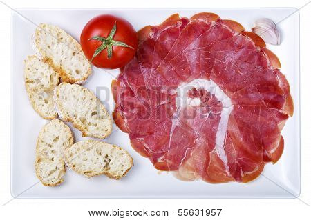 Plate Of Cold Cuts Ham Sausage Typical In Spain