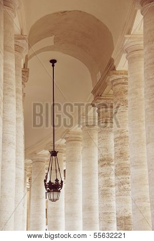 Doric Columns Of St. Peter's Basilica In Vatican, Rome, Italy