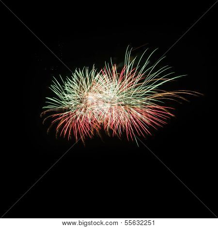 Colorful 3 Fireworks Over Dark Sky