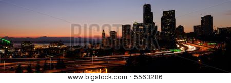 Seattle Downtown At Dusk
