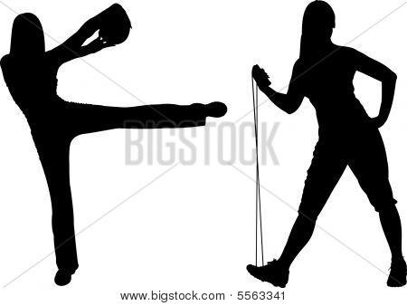 mujer fitness con bola y salto vector silueta de cuerda