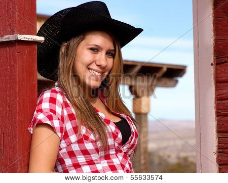 Pretty teen model cowgirl