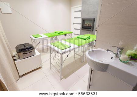 Massage Treatment Room In Beauty Healthy Spa Salon