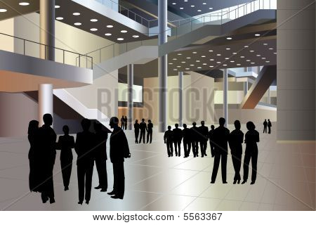 people silhouette in business center vector