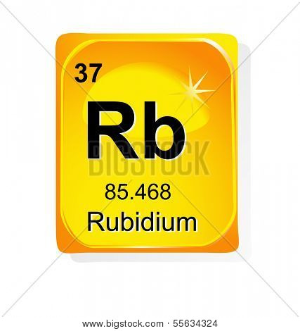 Rubidium chemical element with atomic number, symbol and weight